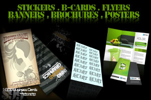 stickers, banners, flyers, business cards